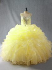 Yellow Organza Zipper Straps Sleeveless Floor Length 15 Quinceanera Dress Beading and Ruffles