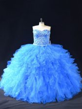 Ideal Blue Sweetheart Neckline Beading and Ruffles Sweet 16 Dresses Sleeveless Lace Up
