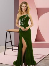Dramatic Olive Green Column/Sheath Beading Prom Evening Gown Lace Up Elastic Woven Satin Sleeveless