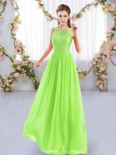 Scoop Sleeveless Damas Dress Floor Length Lace Yellow Green Chiffon