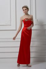 Elegant Red Sleeveless Beading and Appliques Ankle Length