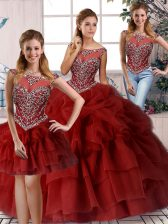 Most Popular Brush Train Three Pieces Quince Ball Gowns Wine Red Scoop Organza Sleeveless Zipper