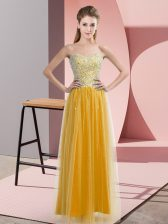 Gold Empire Beading Homecoming Dress Lace Up Tulle Sleeveless Floor Length