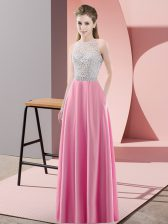 Sleeveless Backless Floor Length Beading Homecoming Dress