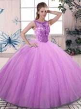 Floor Length Lilac Sweet 16 Dress Tulle Sleeveless Beading