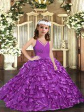 Purple Zipper V-neck Ruffles and Ruching Child Pageant Dress Organza Sleeveless