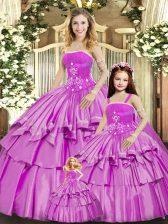 Sleeveless Beading and Ruffled Layers Lace Up 15th Birthday Dress