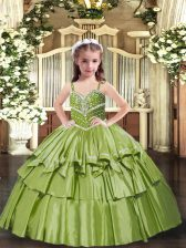 Floor Length Olive Green Pageant Dress Toddler Straps Sleeveless Lace Up