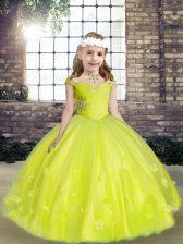 New Arrival Yellow Green Ball Gowns Straps Sleeveless Tulle Floor Length Lace Up Beading and Hand Made Flower Child Pageant Dress
