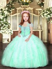 Apple Green Ball Gowns Tulle Straps Sleeveless Beading and Ruffles Floor Length Lace Up Kids Formal Wear
