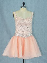 Organza Straps Sleeveless Lace Up Beading Evening Dress in Peach