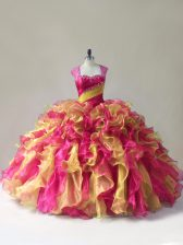 Fitting Multi-color Organza Zipper 15 Quinceanera Dress Sleeveless Floor Length Beading and Ruffles