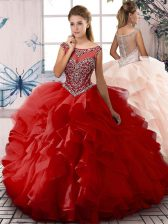 Red Scoop Zipper Beading and Ruffles Quinceanera Dress Sleeveless