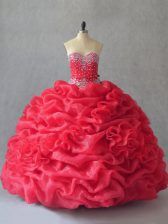 Sweetheart Sleeveless Quinceanera Gown Floor Length Beading and Pick Ups Coral Red