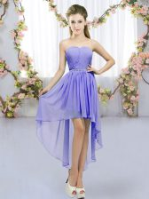 Top Selling Lavender Sleeveless Beading High Low Dama Dress for Quinceanera