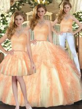 Cheap Orange Three Pieces Organza Sweetheart Sleeveless Beading and Ruffles Floor Length Lace Up Quinceanera Dress
