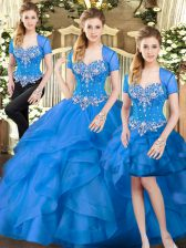 Blue Sweetheart Lace Up Beading and Ruffles Quinceanera Gown Sleeveless