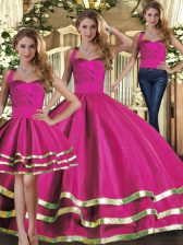 Hot Selling Floor Length Lace Up Quinceanera Gowns Fuchsia for Military Ball and Sweet 16 and Quinceanera with Ruffled Layers