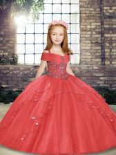 Fantastic Coral Red Tulle Lace Up Pageant Gowns For Girls Sleeveless Floor Length Beading and Ruffles