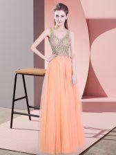 Floor Length Orange Homecoming Dress V-neck Sleeveless Zipper