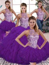 Sleeveless Floor Length Beading and Ruffles Lace Up Quince Ball Gowns with Purple