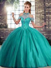 Turquoise Lace Up Quinceanera Dresses Beading Sleeveless Brush Train