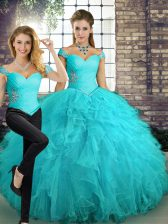 Sleeveless Tulle Floor Length Lace Up Quince Ball Gowns in Aqua Blue with Beading and Ruffles