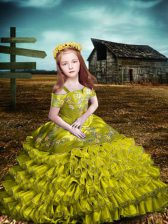 Excellent Olive Green Organza Lace Up Off The Shoulder Short Sleeves Floor Length Little Girl Pageant Gowns Embroidery and Ruffled Layers