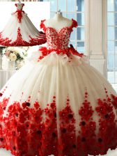 Zipper Ball Gown Prom Dress White And Red for Sweet 16 and Quinceanera with Hand Made Flower Brush Train