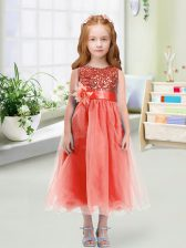Amazing Scoop Sleeveless Organza Flower Girl Dresses for Less Sequins and Hand Made Flower Zipper