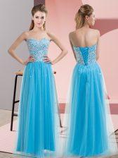 Custom Designed Empire Dress for Prom Aqua Blue Sweetheart Tulle Sleeveless Floor Length Lace Up