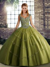 Amazing Ball Gowns Quince Ball Gowns Olive Green Straps Tulle Sleeveless Floor Length Lace Up