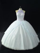 Sumptuous Sleeveless Tulle Floor Length Lace Up Sweet 16 Dress in Blue with Beading