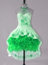 Green Sleeveless Satin and Organza Lace Up Prom Party Dress for Prom and Party
