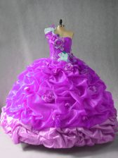 Trendy Purple Lace Up One Shoulder Pick Ups and Hand Made Flower 15th Birthday Dress Organza Sleeveless