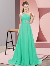 Apple Green Prom Evening Gown Prom and Party and Military Ball with Beading One Shoulder Sleeveless Lace Up