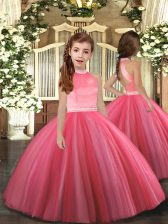 High-neck Sleeveless Little Girls Pageant Gowns Floor Length Beading Coral Red Tulle