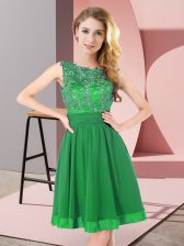 Green Backless Quinceanera Court Dresses Beading and Appliques Sleeveless Mini Length