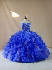 Sweetheart Sleeveless Organza Quinceanera Gowns Beading and Ruffles Lace Up