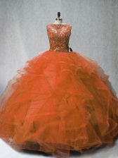 On Sale Rust Red Ball Gowns Sleeveless Tulle Brush Train Lace Up Beading and Ruffles 15th Birthday Dress