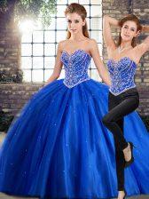 Sweetheart Sleeveless Brush Train Lace Up Sweet 16 Dresses Blue Tulle
