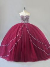 Lace Up Quinceanera Gowns Burgundy for Sweet 16 and Quinceanera with Beading Brush Train