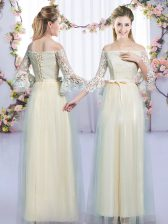 Admirable Tulle Off The Shoulder 3 4 Length Sleeve Lace Up Lace and Bowknot Quinceanera Dama Dress in Champagne