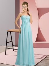 Baby Blue Chiffon Lace Up Sweetheart Sleeveless Floor Length Prom Gown Beading