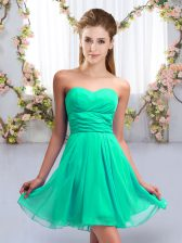 Turquoise Sleeveless Chiffon Lace Up Quinceanera Court of Honor Dress for Wedding Party