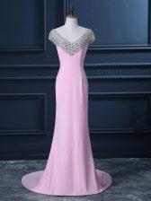 Suitable Pink Chiffon Side Zipper V-neck Cap Sleeves Evening Dress Court Train Beading
