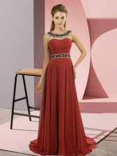 Scoop Sleeveless Brush Train Zipper Dress for Prom Rust Red Chiffon