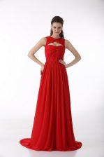Sleeveless Brush Train Zipper Ruching Prom Party Dress