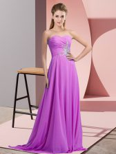 Modest Floor Length Empire Sleeveless Lilac Prom Evening Gown Lace Up