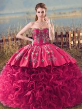 Shining Coral Red Ball Gowns Sweetheart Sleeveless Fabric With Rolling Flowers Lace Up Embroidery and Ruffles Quinceanera Dress